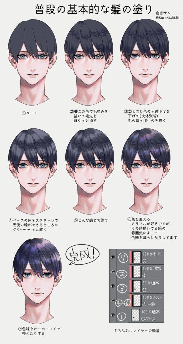 お絵かき図鑑 on twitter ヘア 参照 髪型のスケッチ 髪の毛 塗り方