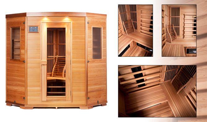 www.SuperSauna.nl - prachtige infrarood sauna hoek model in red cedar