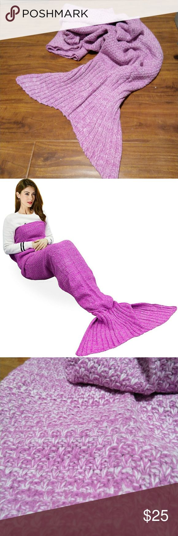 """NWOT Mermaid Pink Purple Crochet Blanket 72.8"""" x 35.5""""  Soft cozy cotton and Acrylic Fibers, Eco-friendly and Skin-friendly perfect for kids and adults  Made of soft cozy cotton and Acrylic Fibers, Eco-friendly and Skin-friendly perfect for kids and adults,Suggest hand washing, or put into the laundry bag to do the machine wash  Highly Versatile: The mermaid tails like a sleeping bag could wiggle your feet into the blanket and keep warm. Great to wrap on the sofa, couch, bed or car for…"""