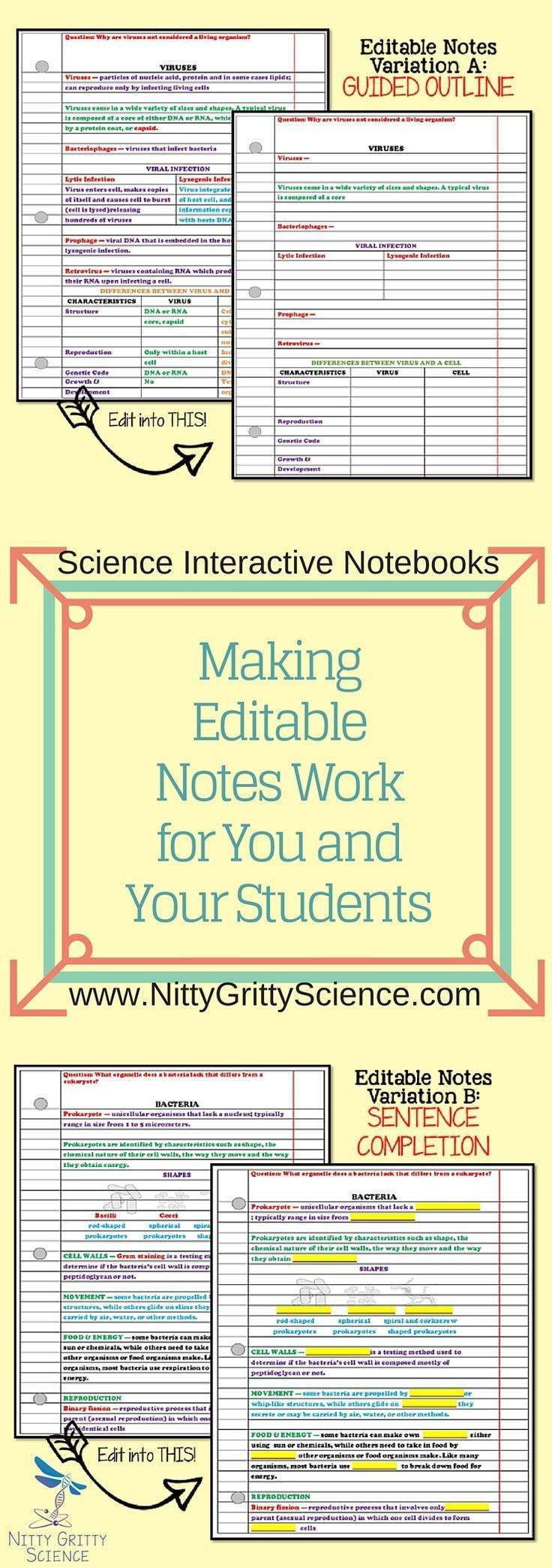 Editable Interactive Science Notebooks: Variation A is a guided outline and Variation B features a sentence completion strategy.  Choose one version that works for you, or use both if you feel some students need differentiation.  Guided notes provide a framework of the content but leave out key vocab or main ideas that students are responsible for.  They can either find the missing information through research, or by listening to the teacher as a lecture progresses.