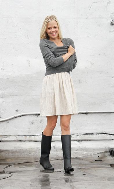 sweater, skirt, rain boots (rain boots, neutrals)