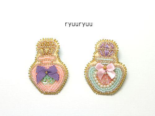 香水瓶のブローチ☆|流流 ~えりこの手仕事日記~ ビーズ刺繍 ...