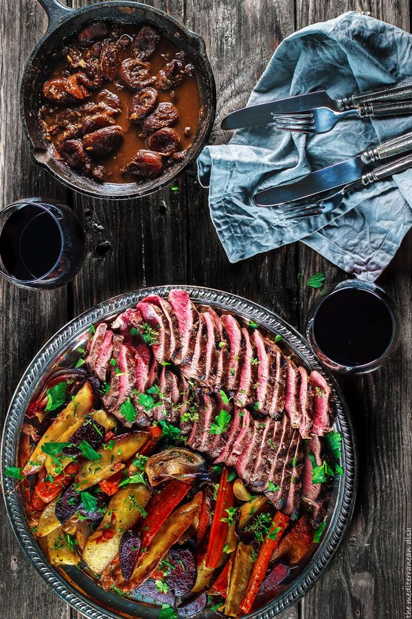 Lamb loin fillets and roasted root vegetables. Easy Mediterranean recipe for grilled lamb loin with a special wine-brandy sauce