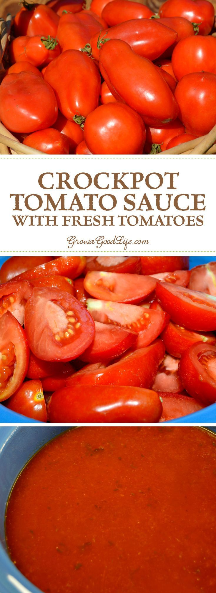 This easy, crockpot tomato sauce made with fresh tomatoes is rich and flavorful. It takes little effort to fill the slow cooker up with all the ingredients and let it simmer all day.