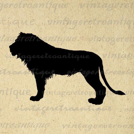 Printable Digital Lion Silhouette Image Animal Illustration Graphic Download Vintage Clip Art Jpg Png Eps Print 300dpi No.3379 @ vintageretroantique.etsy.com #DigitalArt #Printable #Art #VintageRetroAntique #Digital #Clipart #Download