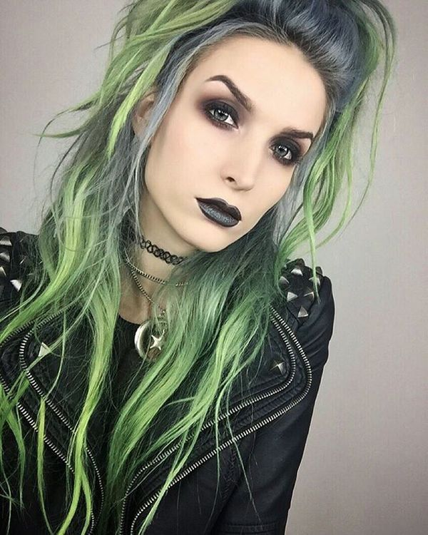 Goth Beauty. Amazing Hair. I have never seen this intriguing color before. I am impressed!! WFH.