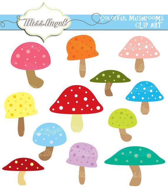 Mushrooms CLIPART 12 Digital mushroom Images by MissAngelClipArt