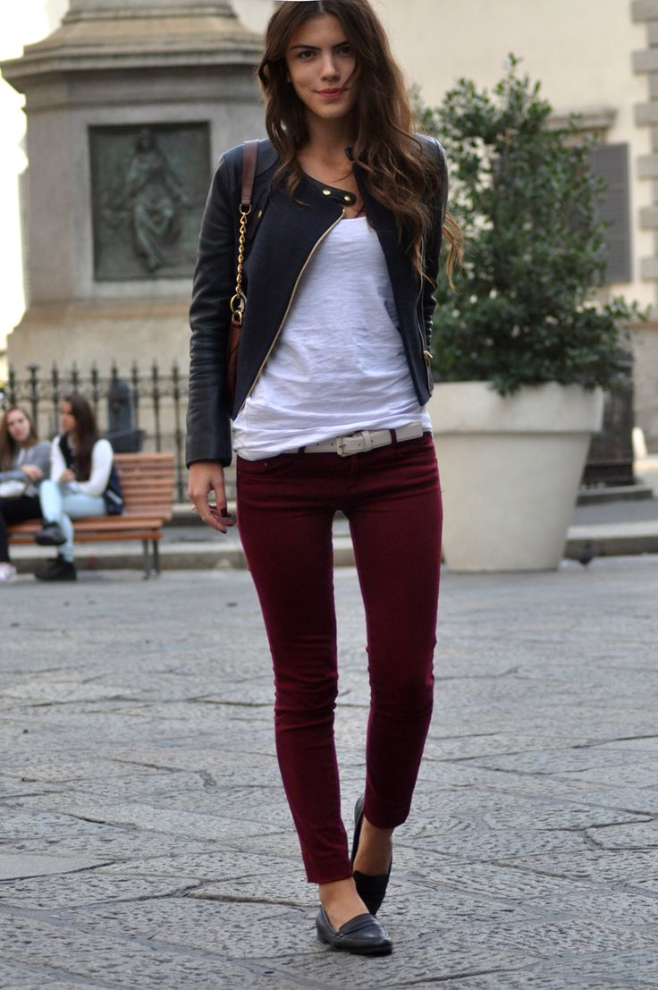 Fall Outfit: Burgundy Jeans, White Tee & Black Leather Jacket