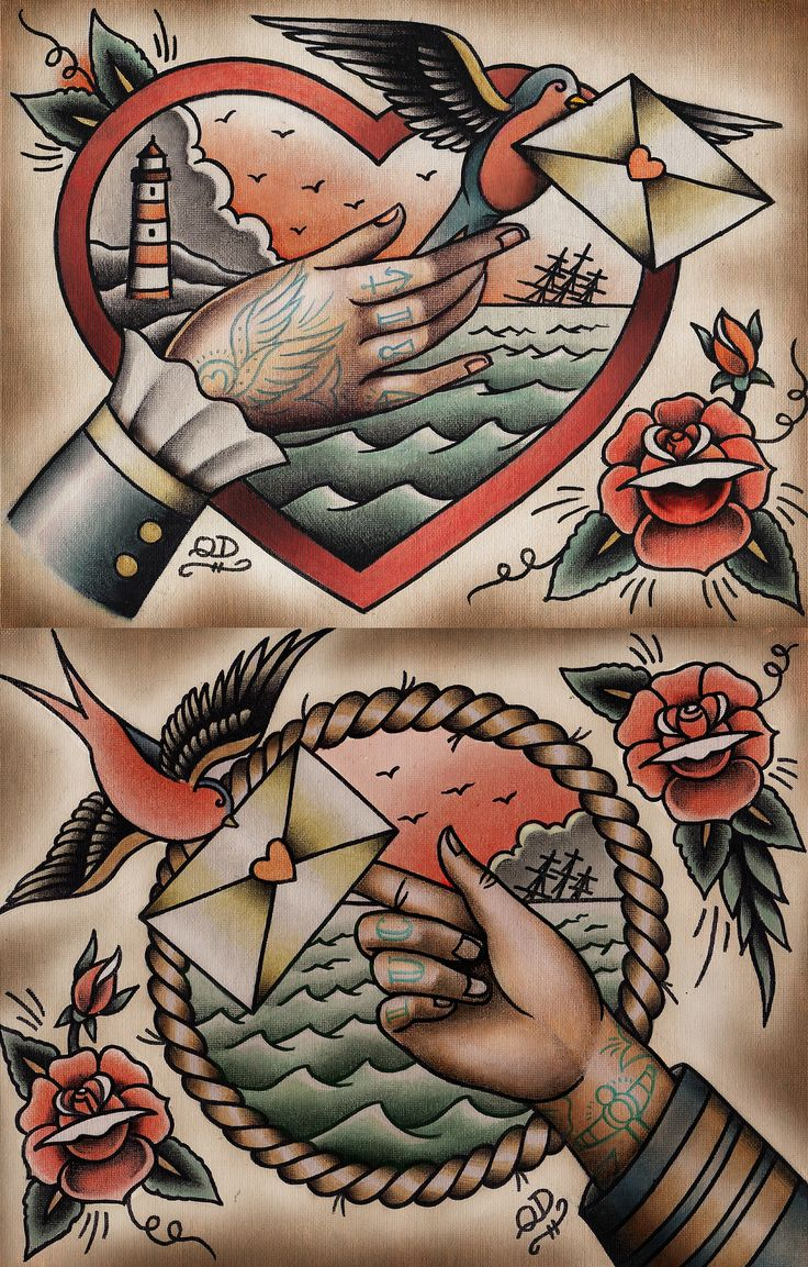 Dear john his hers old school tattoo and old school for Traditional old school tattoo designs