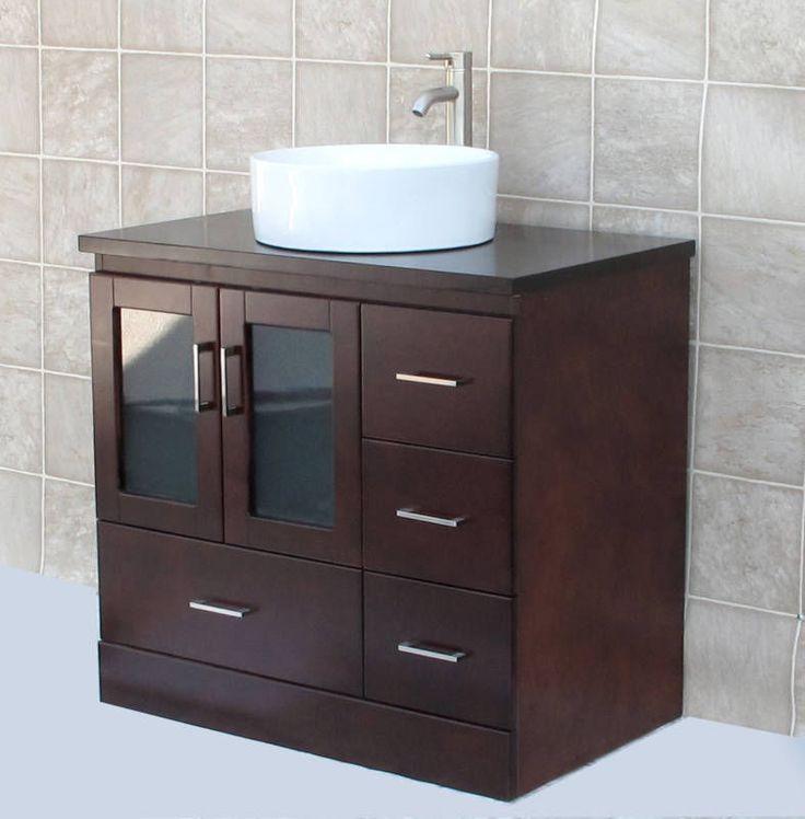 36 Bathroom Vanity Cabinet Matching Wood Top Ceramic Vessel Sink Faucet Mc3 Nerise Bathroom