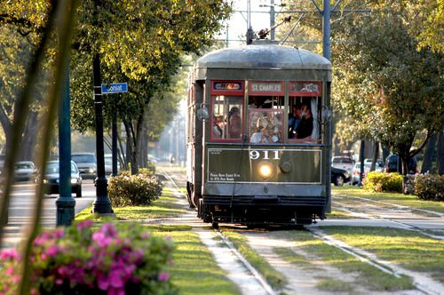 NEW ORLEANS ..The streetcar up St. Charles. There is actually a stop at a street named Desire.