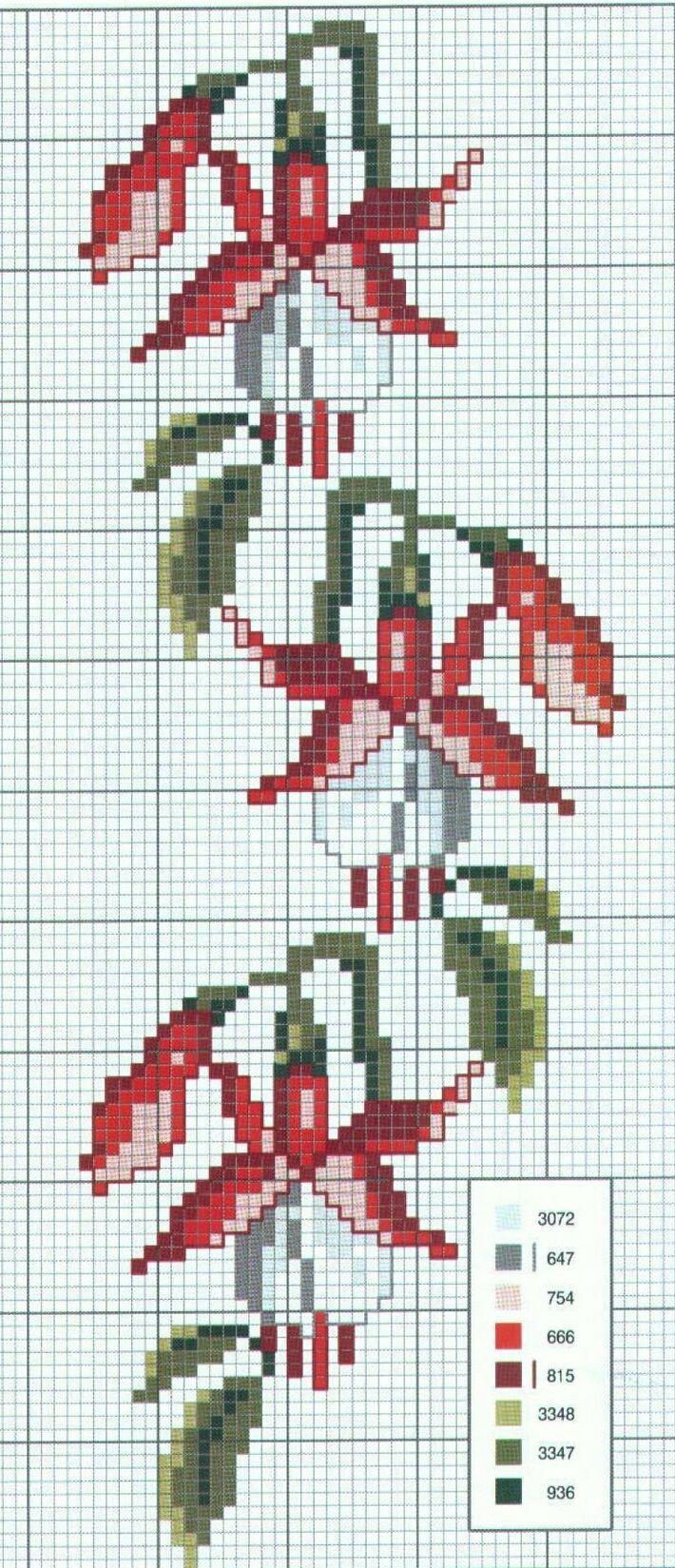 """Cross stitch - flowers: Fuchsia (free pattern - chart) [   """"šema za vez"""",   """"Fuchia"""