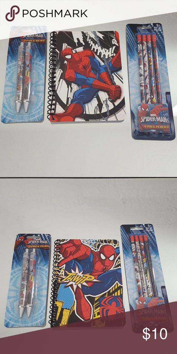 Spiderman Stocking Stuffers!! Mini Gift! All items are new! Great for a last minute gift!  I make little bundles like this and put them in a grab bag for my kiddos.  2 pk of pencils 4ct. 2 pk pens 2 ct 2 mini spiral notebooks  All profits go toward my sons college fund. Thank you for visiting my closet. Marvel Other