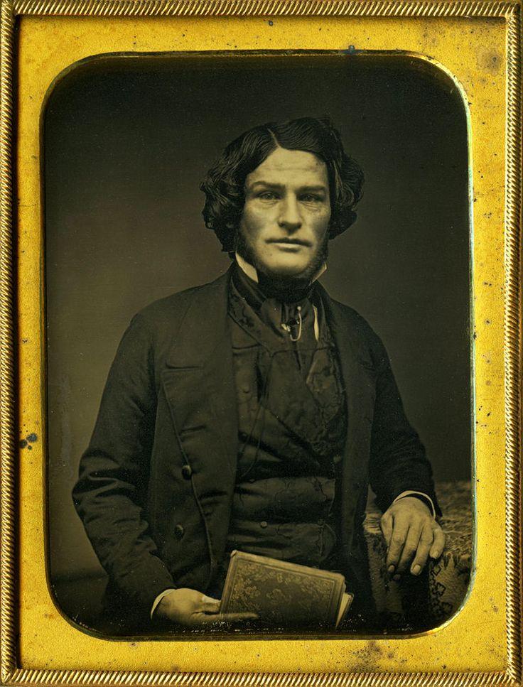 Majestic Man w Brilliant Locks of Hair Chin Beard Quarter Plate Daguerreotype…