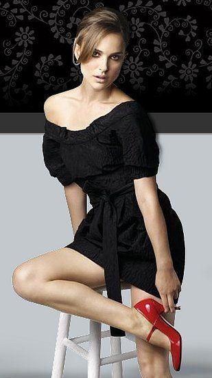 Natalie Portman shows off a pair of red-hot vegan heels for Te Casan.