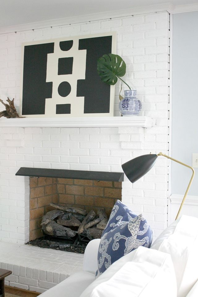 Diy abstract art black white mantel fireplaces for Black and neutral living room
