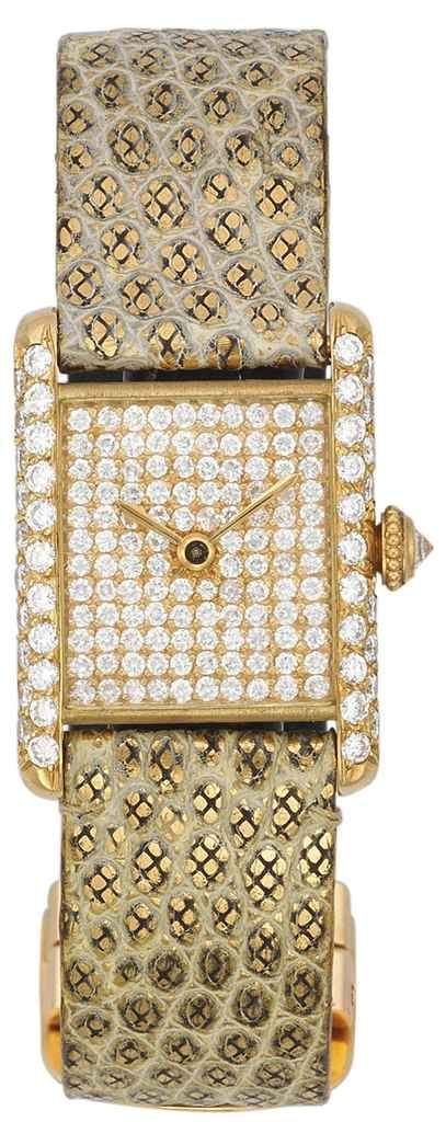Diamond wristwatch, by Cartier