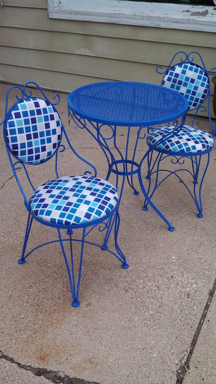 Vintage patio furniture sets - Blue Redo Painting Metalvintage Patiofurniture