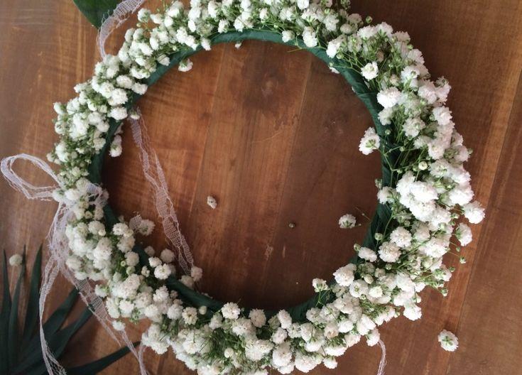 Babies Breath Wreath for Bridesmaids in Naxos Wedding