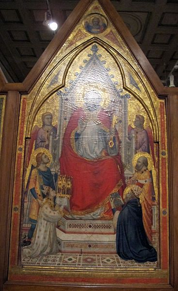 c.1270-23.06.1343.Jacopo Caetani degli Stefaneschi. The Stefaneschi Altarpiece is a triptych by the Italian medieval painter Giotto,commissioned by Cardinal Giacomo Gaetani Stefaneschi to serve as an altarpiece for one of the altars of Old St.Peter's Basilica in Rome.He was created cardinal-deacon of the titular Church of San Giorgio in Velabro on 17.12. 1295,by Pope Boniface VIII,who also sent him as legate to Cesena,Forlì, Faenza and Bologna in 1296, to suppress civil disturbances.1320 ca.