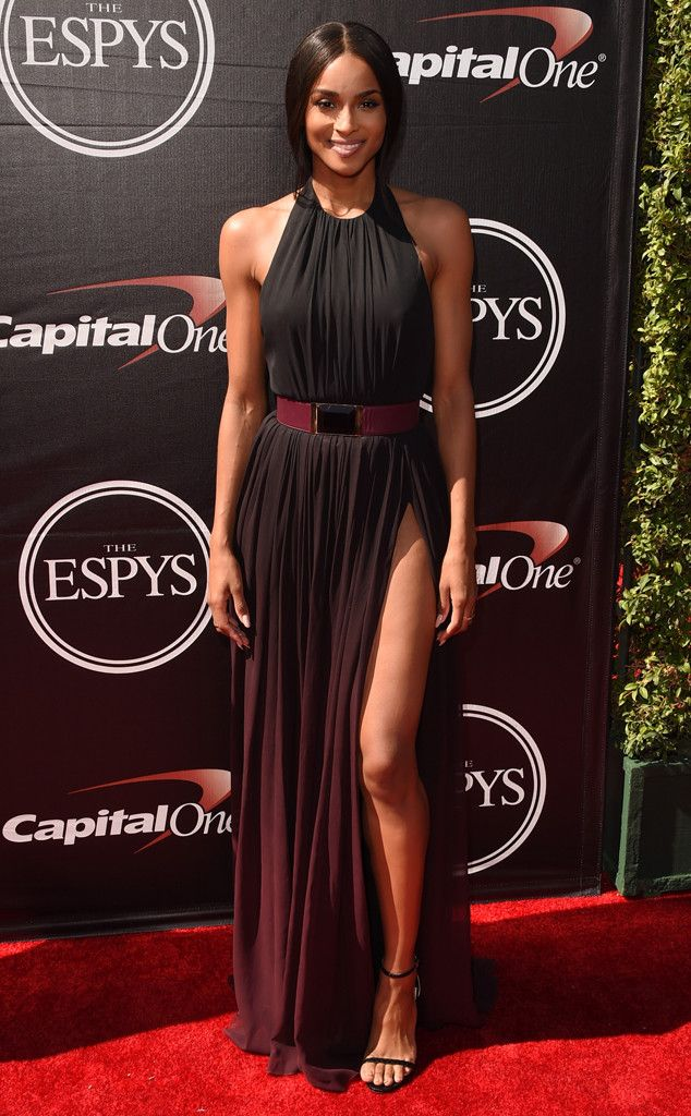 Ciara from 2015 ESPY Awards Red Carpet Arrivals  Holy hot! The singer shuts it down in a breathtaking black Elie Saab gown with a side slit.