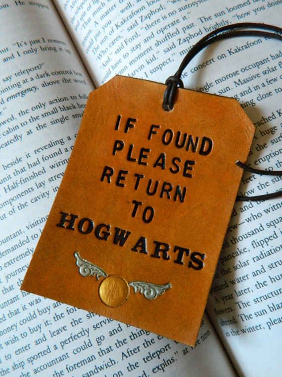 Harry Potter Luggage Tag- Can I just attach this to my clothes with the hope that some kind witch or wizard will think I was just hit with a memory charm? I BELONG there!!! I just don't remember getting a letter.