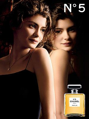 Chanel No5 ad, Audrey Tatou.  Chanel N°5 - 1921 - Gabrielle 'Coco' Chanel - Made by perfumer Ernest Beaux (Russian, 1881-1961)