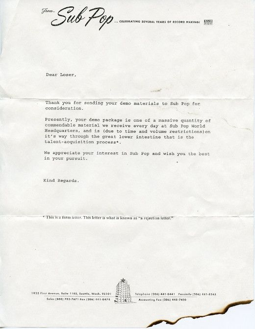 Sub Pop Records Had The Greatest Rejection Letters Ever