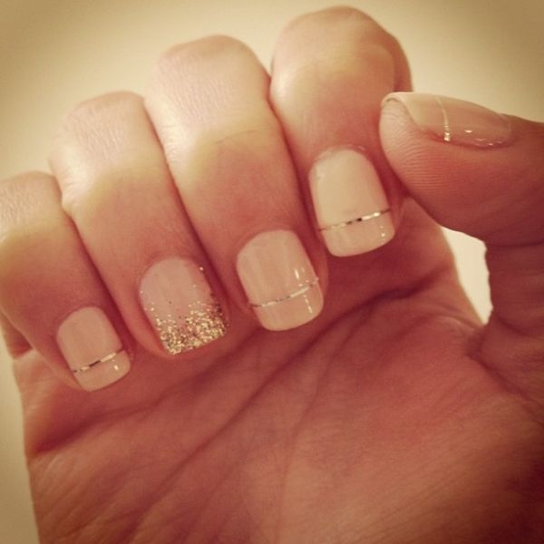#pastel pink and gold nails by terrie
