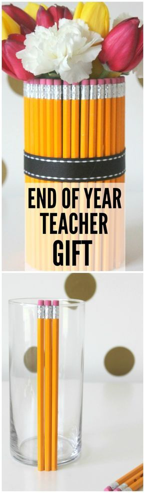 Pencil Vase DIY -- perfect end of school teacher gift! | CatchMyParty.com