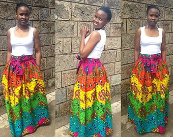 African print skirt Dashiki maxi skirt in greyish by SobaClothing