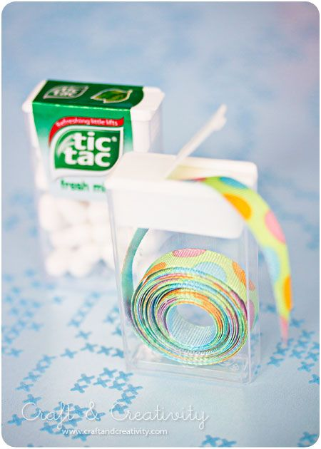 Neatly store trims and ribbons in tic tac containers.