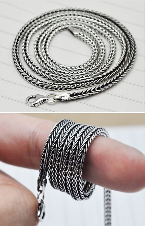 28 mm sterling silver wheat chain for men