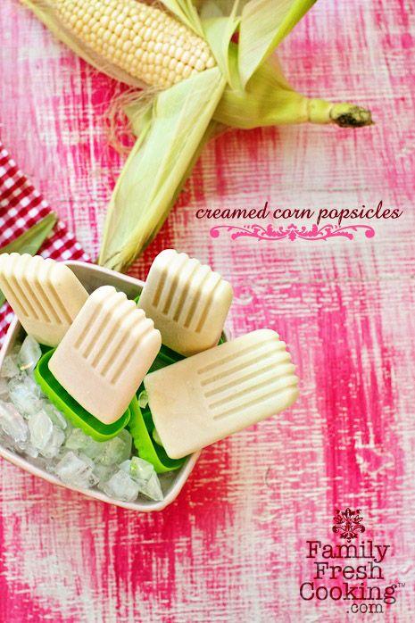 Creamed Corn Popsicles Recipe on FamilyFreshCooking.com photos © MarlaMeridith.com