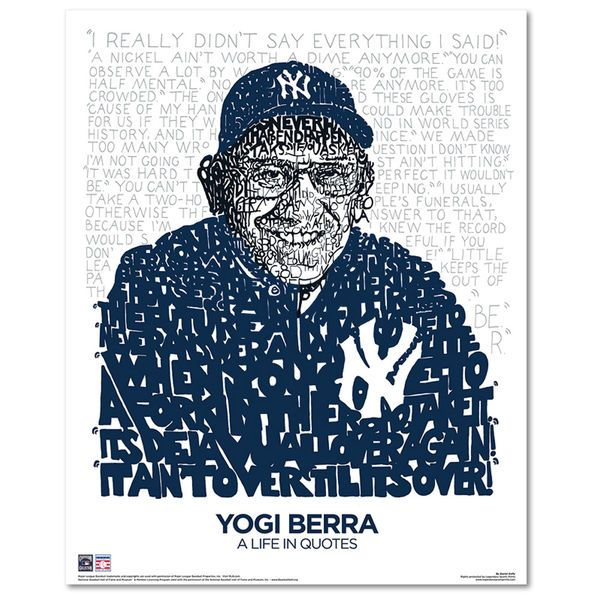 "Yogi Berra New York Yankees 16"" x 20"" A Life in Quotes Sports Art - $29.99"