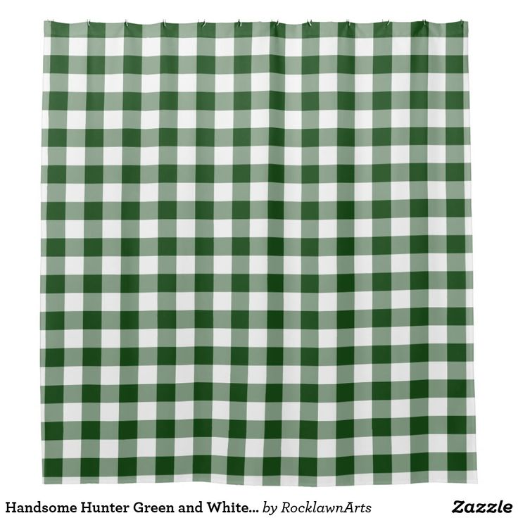 Handsome Hunter Green And White Buffalo Plaid Shower Curtain