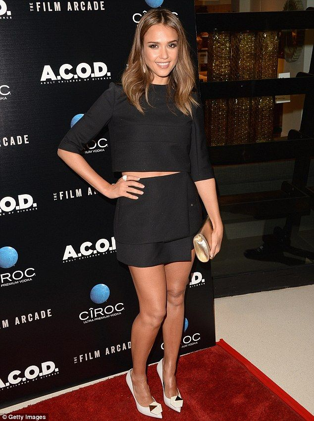 Slim stomach: Jessica Alba, 32, showed a sliver of flesh at the A.C.O.D. premiere in Los Angeles on Thursday night