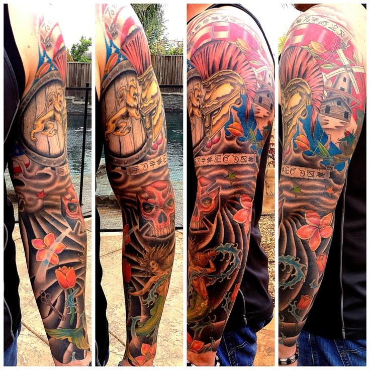 20 Color Sleeve Tattoos: Sleeve #Ink #Tattoo #Arm #Color Tattoo #Mermaid #Saint