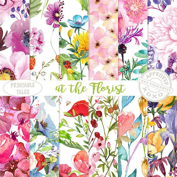 Watercolor Flowers Digital Paper Floral Papers hand painted