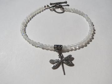 Moonstone Bracelet - Dragonfly Charm - Tiny Natural Rainbow Beads - Dainty - Iridescent Shine - Creamy White - Ready to Ship B075