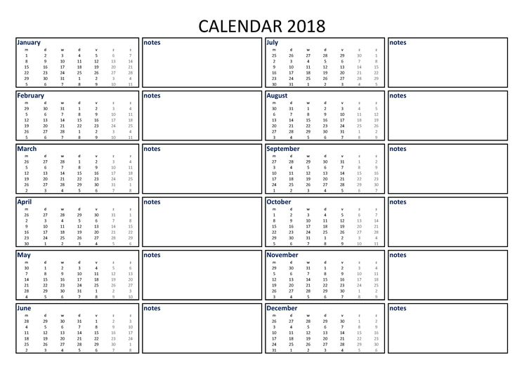 2018 Calendar Excel A3 with Notes - Download our free printable 2018 A3 excel calendar including ...