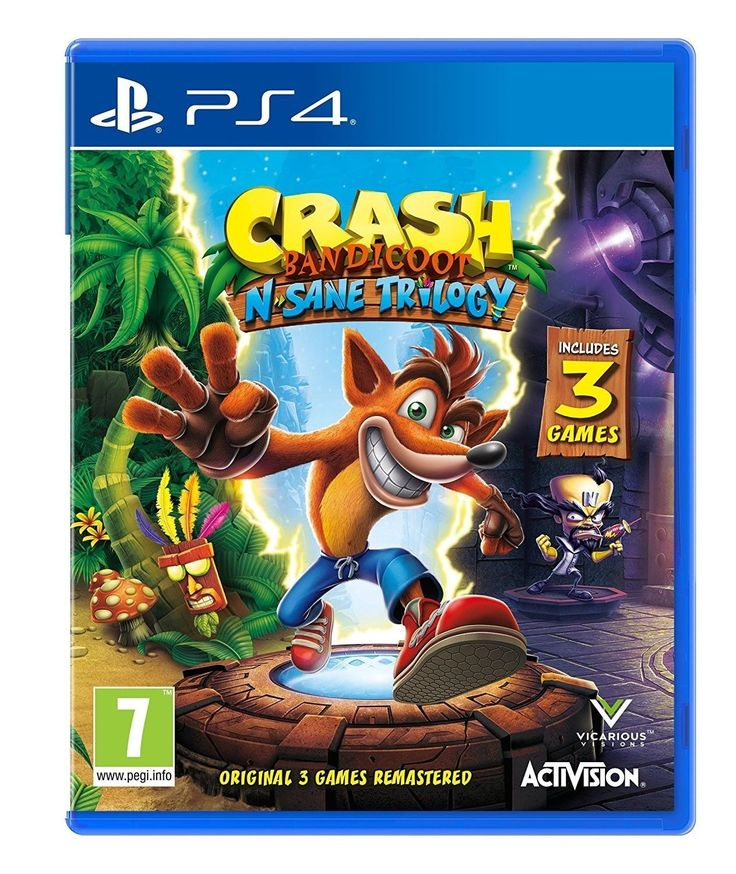 Available at Amazon - Crash Bandicoot N Sane Trilogy for PS4 - https://www.amazon.co.uk/Crash-Bandicoot-Sane-Trilogy-PS4/dp/B01GVS0DXS/ref=as_li_ss_tl?s=videogames&ie=UTF8&qid=1499609454&sr=1-1&keywords=crash+bandicoot+PS4&linkCode=ll1&tag=ftrgaming1707-21&linkId=9a7aaf0e12158e09005fcc0f572b2562  Note - This is an Amazon affiliate post