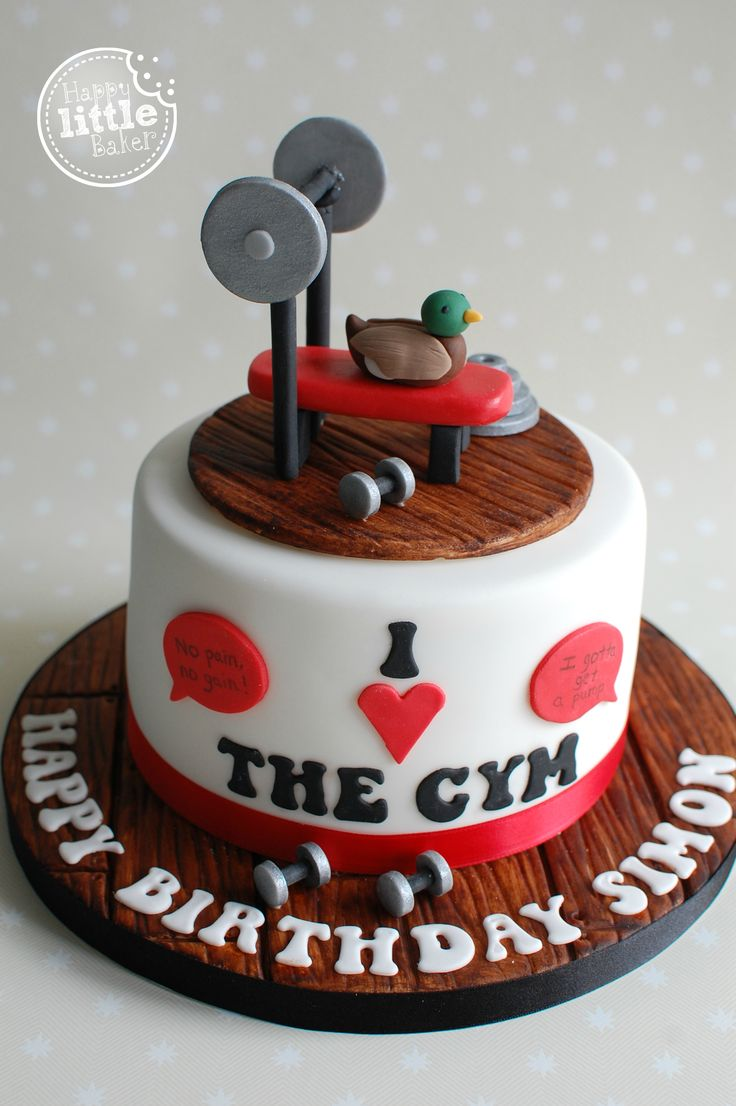 Gym themed birthday cake. Customer also requested certain gym quotes which the camera wasn't able to pick up on within the speech bubbles but they read 'No pain, no gain' & 'I gotta get a pump', plus also requested a duck to be on the cake.