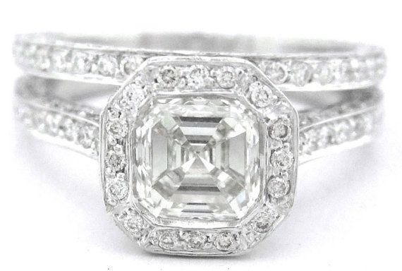 Asscher corte diamante bisel anillo de compromiso y por KNRINC