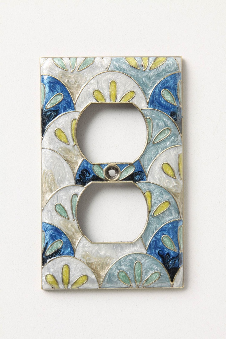 fancy outlet cover from anthropologie, but you could make this with pretty paper and a plain outlet cover really easily