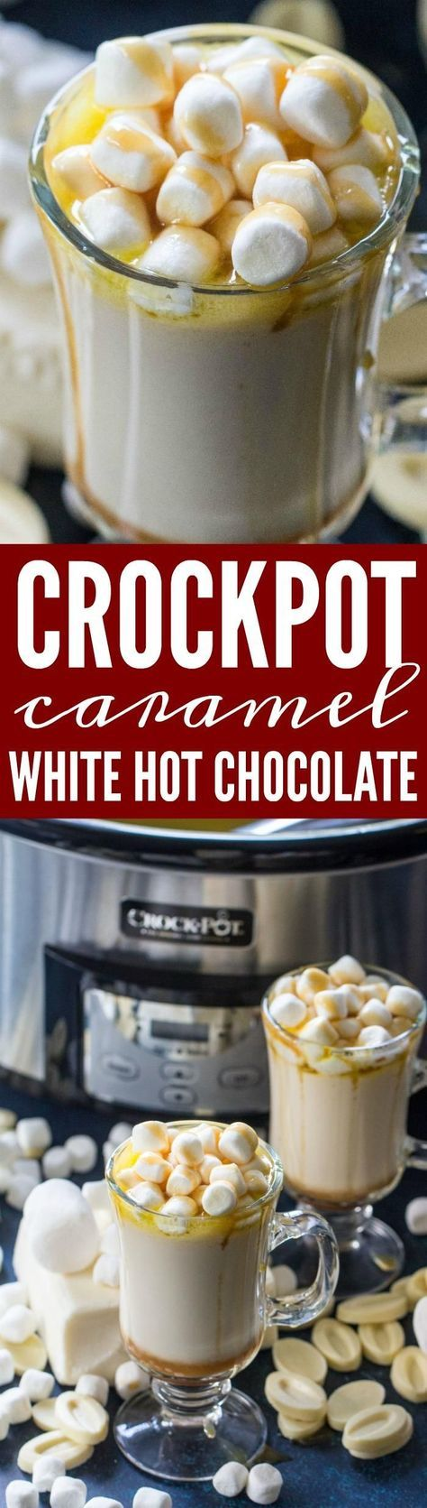 This Caramel White Hot Chocolate Recipe is the perfect Crockpot Hot Drink Recipe for cold Winter nights, Snow Days, Holidays, Thanksgiving, and Christmas! #thanksgiving #recipes #holidays #thanksgivingrecipes #christmas #pierecipes #hotchocolate