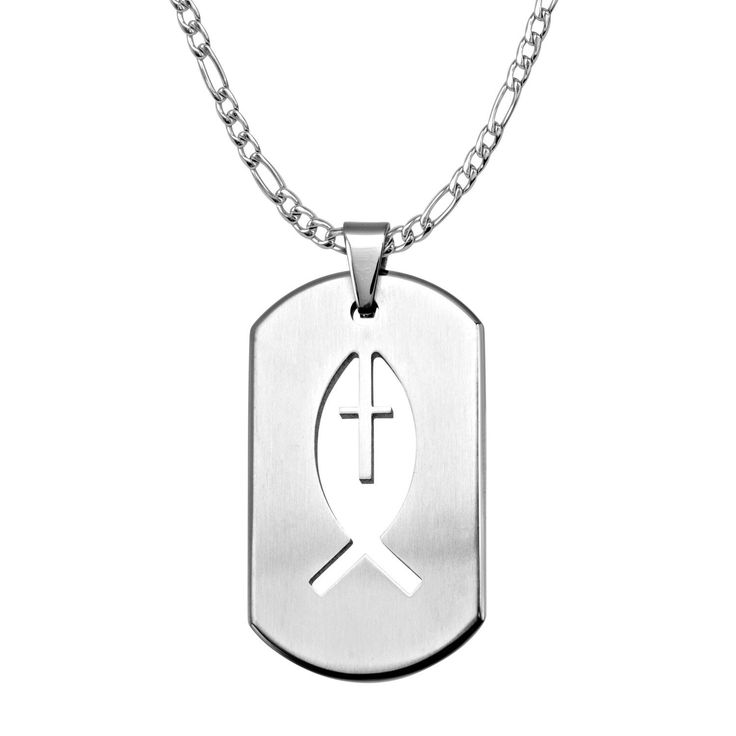 Dog Tag Pendant with a Laser Cut Out of an Ichthys Symbol