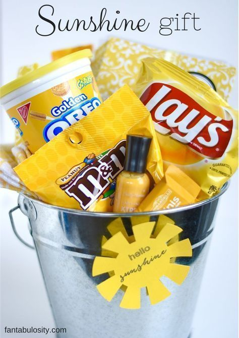 Sunshine Gift Ideas! Buckets, Box, Bags, anything woiuld work for this! Love it! http://fantabulosity.com #babygiftbaskets #teachergifts