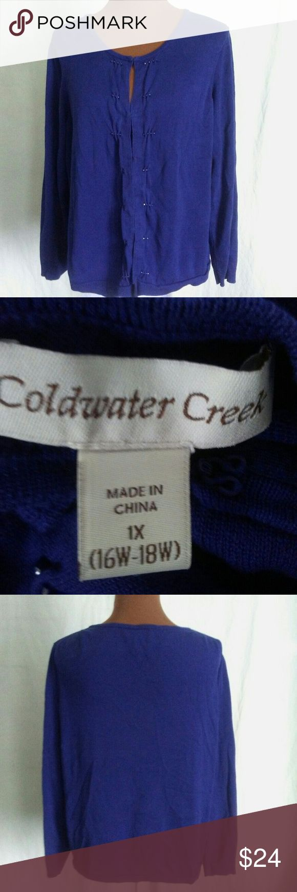 Cold Water Creek blue cardigan Coldwater Creek blue cardigan size extra large hook and eye closure Coldwater Creek Sweaters Cardigans