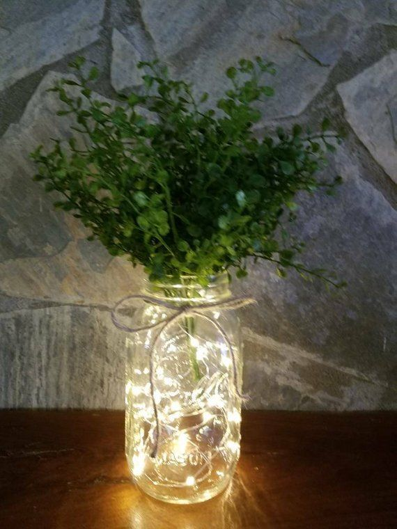 Lighted mason jar, farmhouse greenery, rustic decor, boxwood decor, farmhouse wedding, mason jar decor, country wedding
